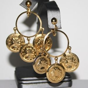 Beautiful gold vintage coin earrings